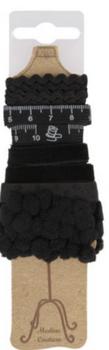 Bänderset 5 Stück Länge 1 Meter schwarz