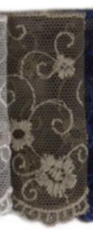 Band Stickerei auf Tüll taupe Breite: 6,5cm