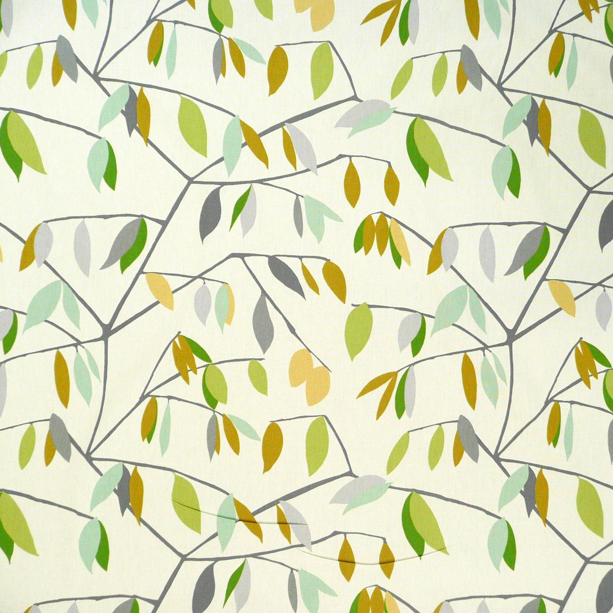 Dekostoff Coco Plum Lemonade Blätter grau grün gelb 137cm