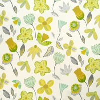 Dekostoff Coconut Grove Lemonade Blumen grau grün gelb 137cm