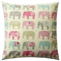 Schöner Leben Kissenhülle Elefanten Pastell rosa türkis grau 40x40cm 001