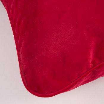 SCHÖNER LEBEN. Samtkissen mit Kederumrandung und Federfüllung rot 70x70cm – Bild 2