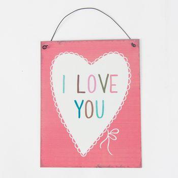 """Schild Plakette Blech Vintage """"I LOVE YOU"""" rosa 19x15cm – Bild 1"""