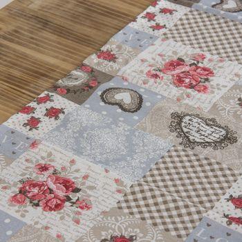 Schöner Leben Tischläufer Patchwork romantisch beige hellblau rot 40x160cm – Bild 2