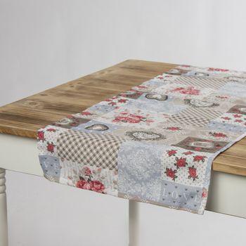 Schöner Leben Tischläufer Patchwork romantisch beige hellblau rot 40x160cm – Bild 1