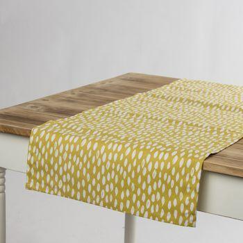 Schöner Leben Tischläufer Bayside Honeydew okker gelb weiß 40x160cm – Bild 1