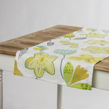 Schöner Leben Tischläufer Coconut Grove Lemonade Blumen grau grün gelb 40x160cm – Bild 1