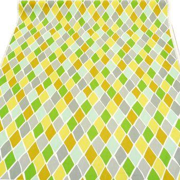 Schöner Leben Tischläufer Park West Lemonade Rauten grün gelb grau 40x160cm – Bild 4