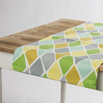 Schöner Leben Tischläufer Park West Lemonade Rauten grün gelb grau 40x160cm – Bild 1