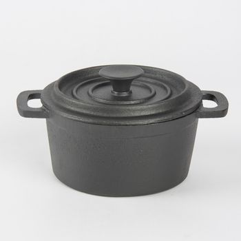 Kleiner Topf mit Deckel aus Gusseisen schwarz 14x7,5cm – Bild 1
