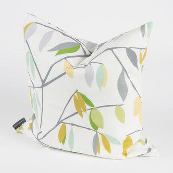 Schöner Leben Kissenhülle Coco Plum Lemonade Blätter grau grün gelb 50x50cm – Bild 3