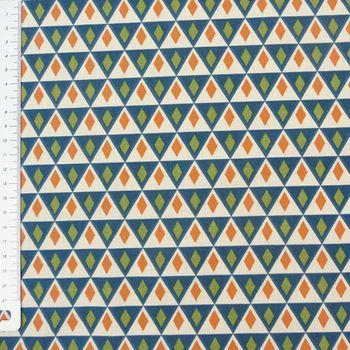Baumwollstoff NELSON Zacken Dreiecke blau braun grün weiß
