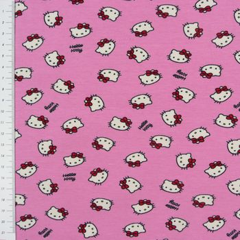 Hello Kitty Jerseystoff Baumwolljersey Lizenzstoff Hello Kitty Sweet Heart Mini rosa 140cm