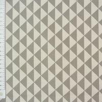 Tischdeckenstoff beschichtete Baumwolle Dreiecke grau weiß