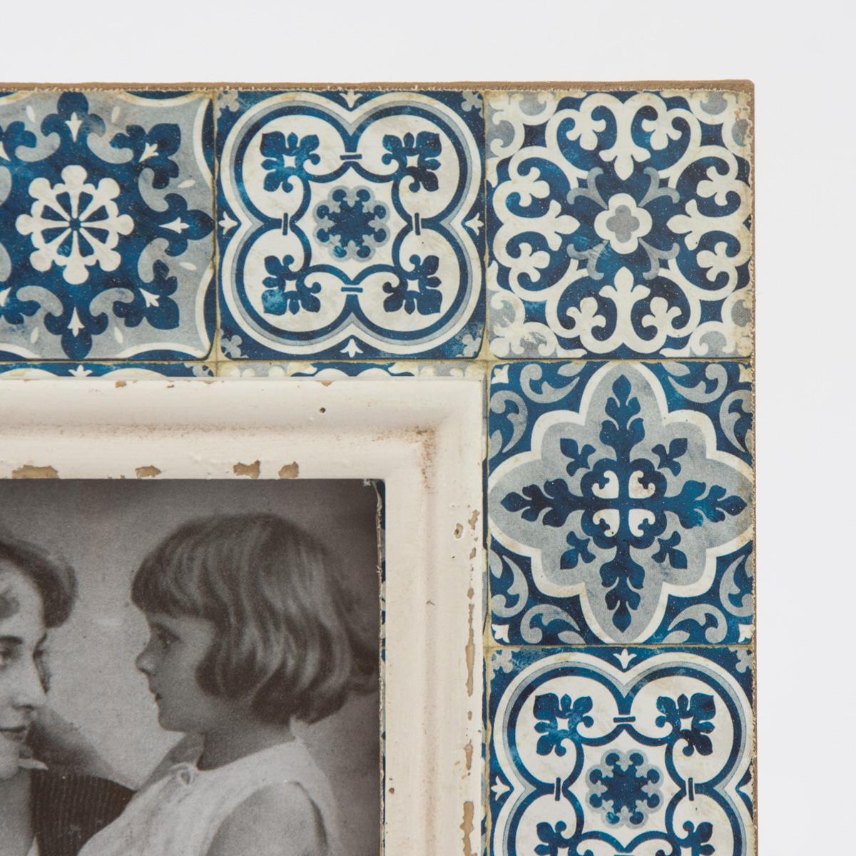 bilderrahmen holz ornament blau vintage 20x25cm wohnen wohnaccessoires bilderrahmen. Black Bedroom Furniture Sets. Home Design Ideas
