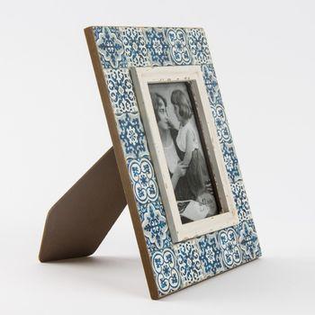 Bilderrahmen Holz Ornament blau Vintage 20x25cm – Bild 3