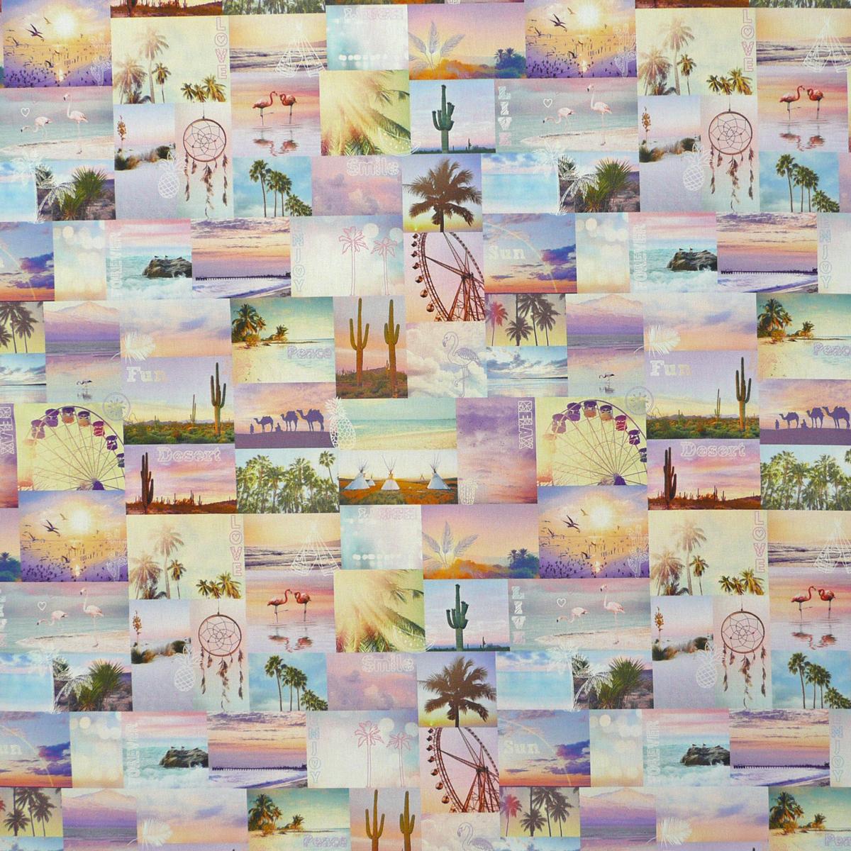 Dekostoff Halbpanama Digitaldruck Festival Patchwork Flamingo Kaktus 1,40m breit