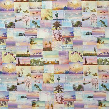 Baumwollstoff Stoff Dekostoff Digitaldruck Coachella Patchwork Flamingo Kaktus – Bild 1
