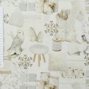 Baumwollstoff Stoff Dekostoff Digitaldruck Schnee Eule Hase Holz weiß – Bild 1