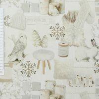 Baumwollstoff Stoff Dekostoff Digitaldruck Schnee Eule Hase Holz weiß