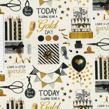 Baumwollstoff Stoff Dekostoff Digitaldruck Party Geschenke weiß goldfarbig schwarz – Bild 1