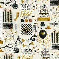 Baumwollstoff Stoff Dekostoff Digitaldruck Party Geschenke weiß goldfarbig schwarz