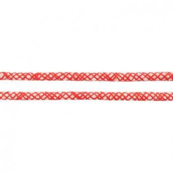 Baumwoll Kordel Spinnennetz natur rot Breite: 8mm