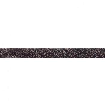 Baumwoll Flachkordel Kordel schwarz weiß Breite: 2cm