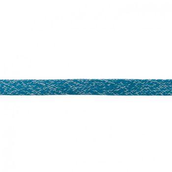 Baumwoll Flachkordel Kordel petrol weiß Breite: 2cm
