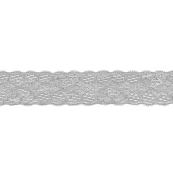 Spitze elastisch Blumen hellgrau Meterware Breite: 3cm
