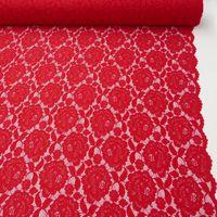 Elastische Spitze Blumen mit Wellen Abschluss beidseitig rot