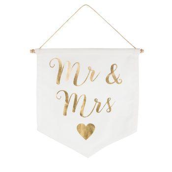 Wimpel Fahne Mr. & MRS cremefarbig goldfarbig 19x16cm – Bild 2