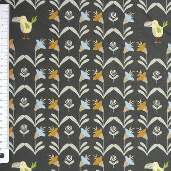 Baumwollstoff Vogel Sträucher schwarz bunt 1,6m Breite