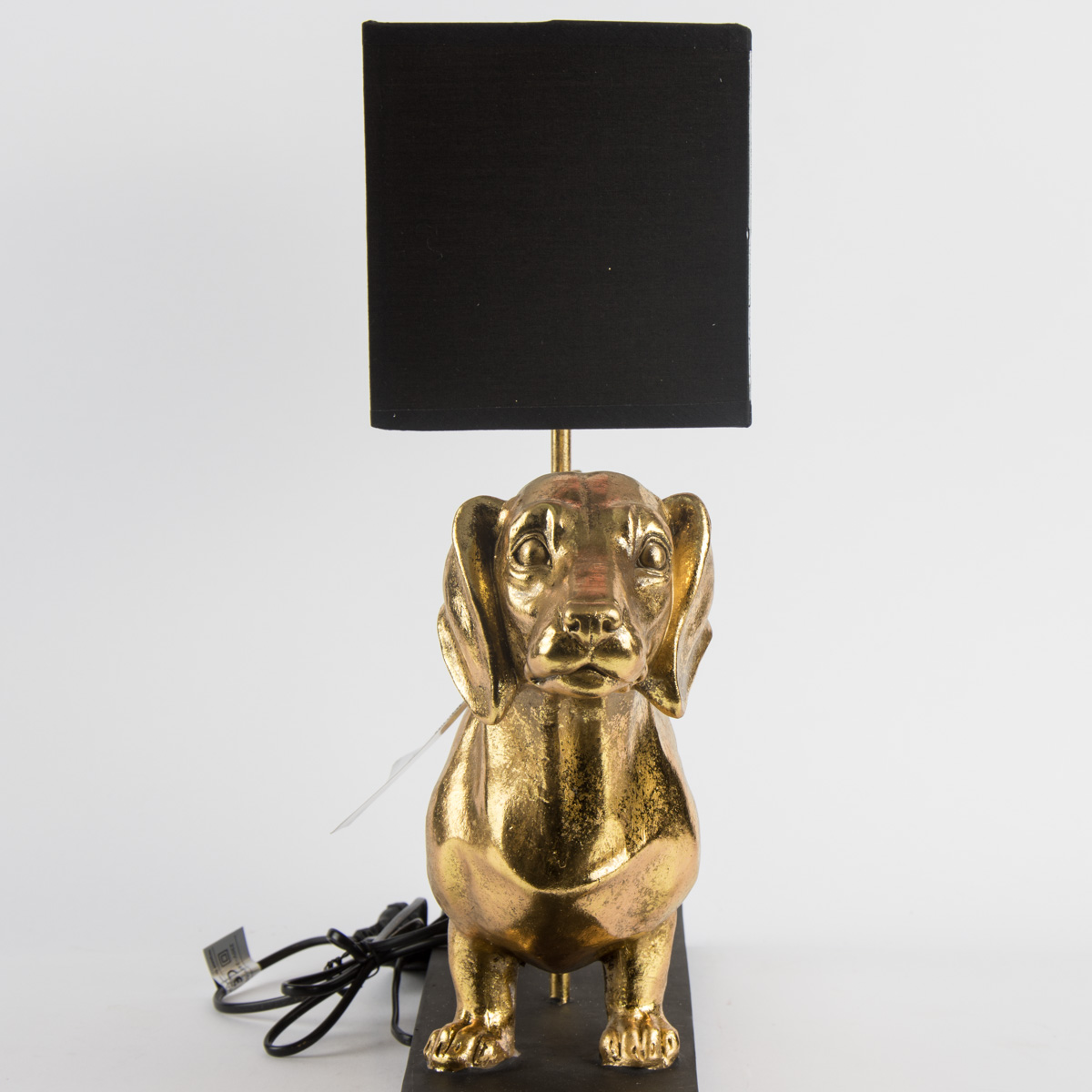 lampe tischlampe dackel schwarz goldfarbig 60x48 5x14cm ebay. Black Bedroom Furniture Sets. Home Design Ideas