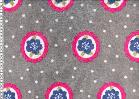 Wellness Fleece Blume in Kreis Punkte grau weiß pink blau – Bild 2