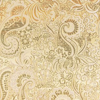 Lurex Jacquard Stoff Paisley Ornament goldfarbig silberfarbig – Bild 1