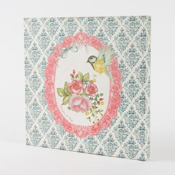 Bilder MDF Vogel Rose Ornament 30x30x3cm – Bild 3