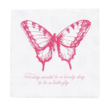 Clayre & Eef Serviette Schmetterling weiß rosa 33x33cm 3lagig 20 Stück