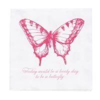 Clayre & Eef Serviette Schmetterling weiß rosa 33x33cm 3lagig 20 Stück 001