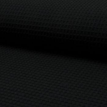 Bekleidungsstoff Waffelpique Baumwolle uni schwarz 1,50m Breite