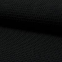 Bekleidungsstoff Waffelpique Baumwolle uni schwarz 1,50m Breite 001