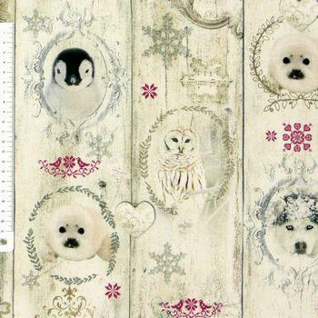 Baumwollstoff Stoff Dekostoff Digitaldruck Tiere in Bilderrahmen Winter – Bild 1