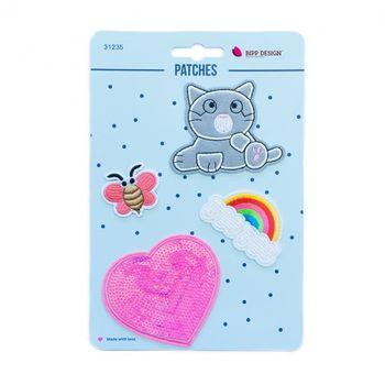 Applikationen Set 4 Stück Katze Herz Regenbogen