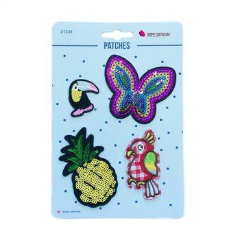 Applikationen Set 4 Stück Schmetterling Ananas Papagei