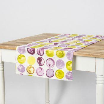 Schöner Leben Tischläufer Kreise weiß lila grün 40x160cm – Bild 1