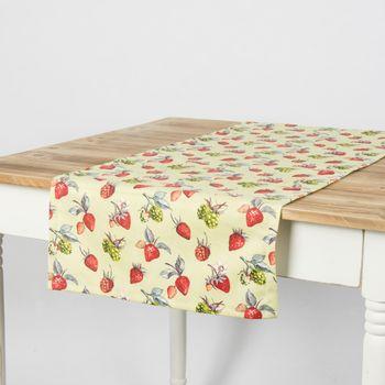 Schöner Leben Tischläufer Erdbeeren Brombeeren grün rot 40x160cm – Bild 1