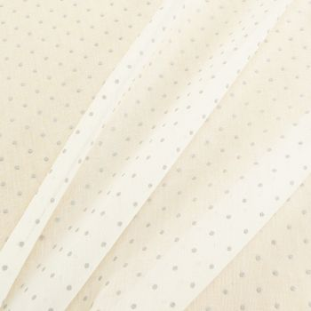 Gardinenstoff Stores Leinenstruktur weiß mit Punkten grau 2,80m Höhe – Bild 2