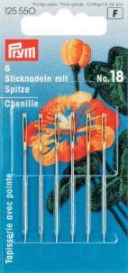 Prym 6 Sticknadeln mit Sp. ST 18 silberfarbig 1,20x50mm
