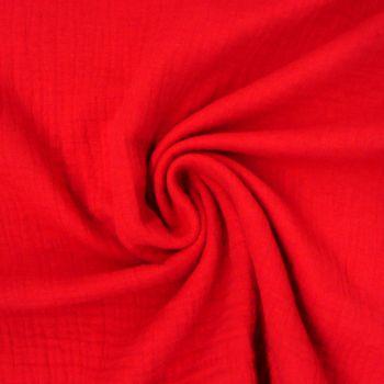 Bekleidungsstoff Double Gauze Musselin Windelstoff einfarbig rot