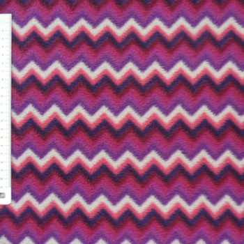 Fleece Stoff Polar Fleece Chevron Zacken pink lila weiß – Bild 1